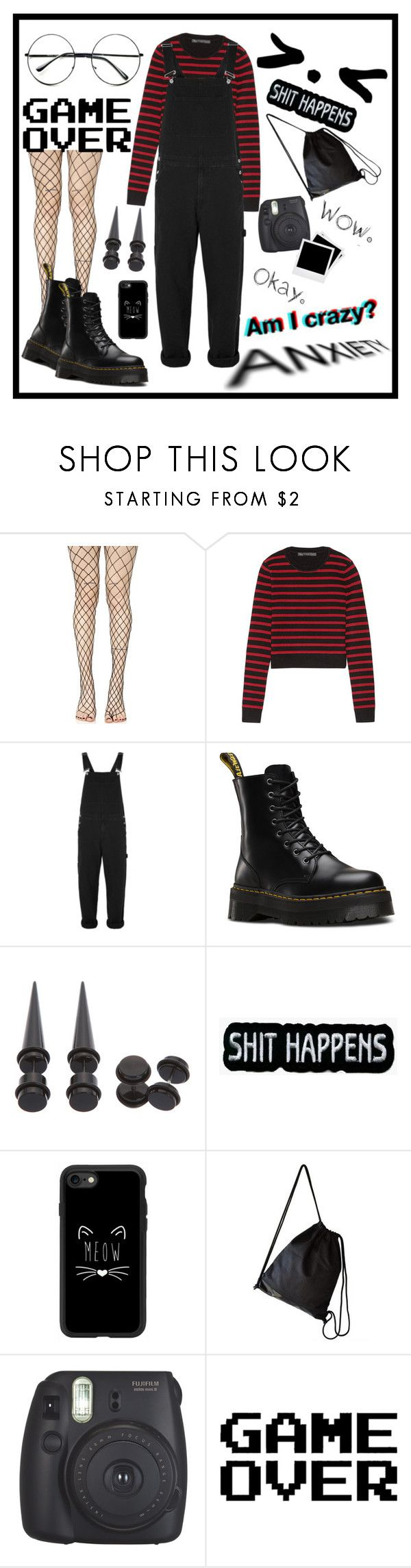 """Untitled #25"" by killixgstalking ❤ liked on Polyvore featuring Leg Avenue, Marc by Marc Jacobs, Topman, Dr. Martens, Hot Topic, Casetify, Fujifilm, Polaroid and Retrò"