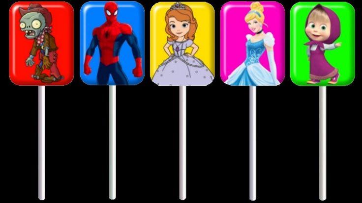 Sofia Masha Elsa Spiderman Lollipops Finger Family Song