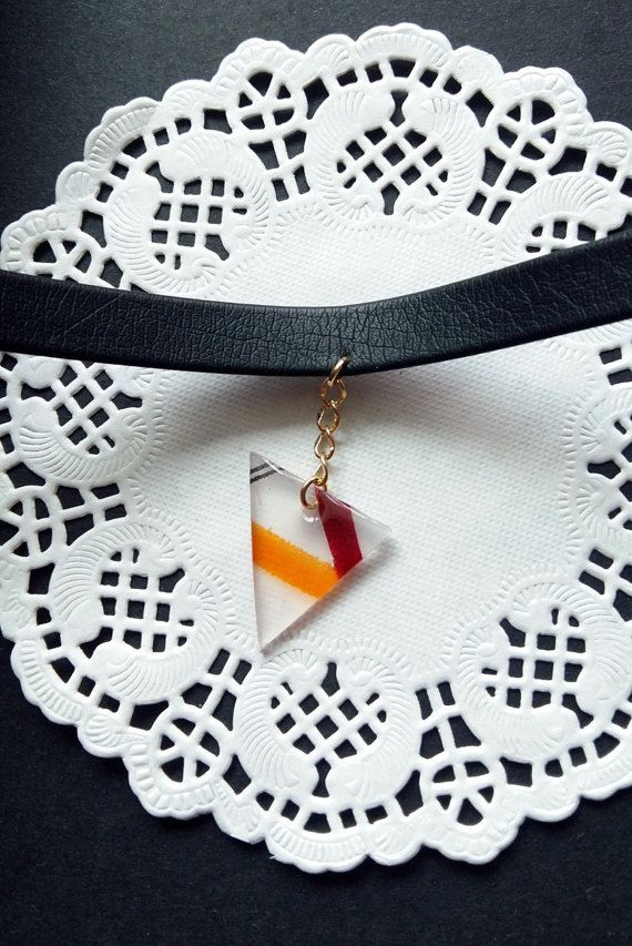 Modern art triangle by Mirage by Heila G https://www.etsy.com/listing/481140351/modern-art-triangle-choker-dangling
