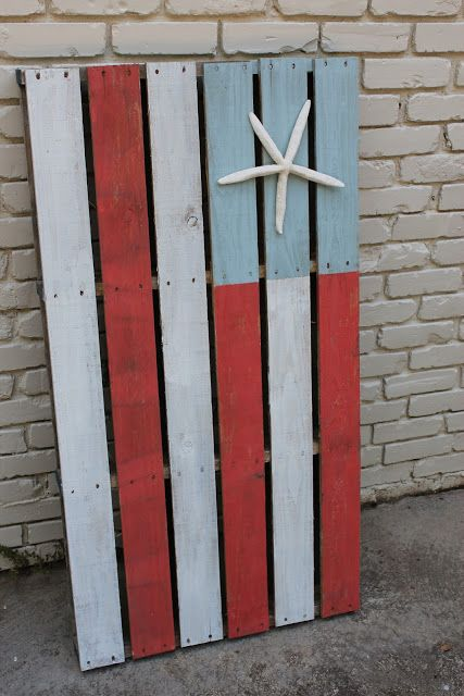 Southern state of mind pinterest challenge nautical american flag pallet art crafts ideas - American flag pallet art ...