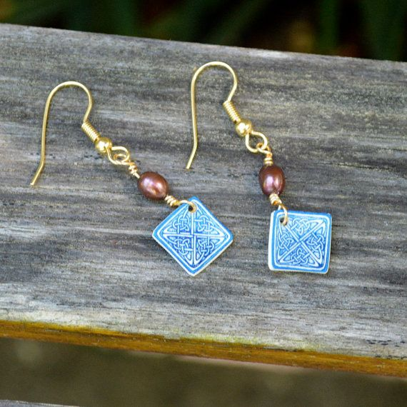 Small Blue Celtic Knot Earrings Mauve by StalkingTheWildSnark, $12.55