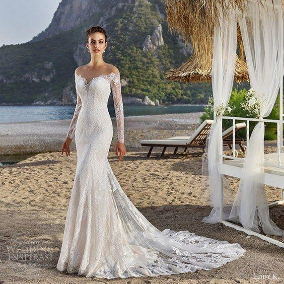 eddy k bridal 2017 long sleeves sweetheart off shoulder lace sheath wedding dress