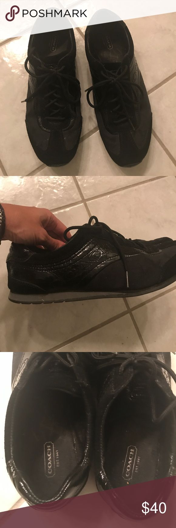 Coach tennis shoes Used, but in pretty good condition. Only noticeable wear is inner soles are a bit detached, but on. Price is firm. Coach Shoes Sneakers
