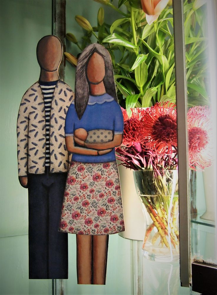 mother, father, baby, family, wooden, prints