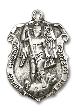 Sterling Silver St. Michael the Archangel Police Shield Medal 5448SS