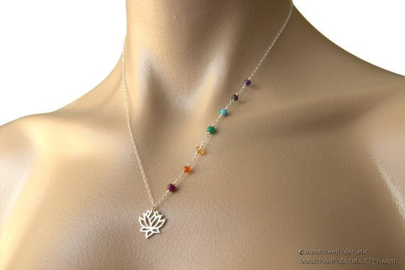 Lotus Chakra Necklace - Sterling Silver yoga jewelry, precious gemstones, Hindu Chakras jewelry, lotus necklace, yogi fashion on Etsy, $79.00