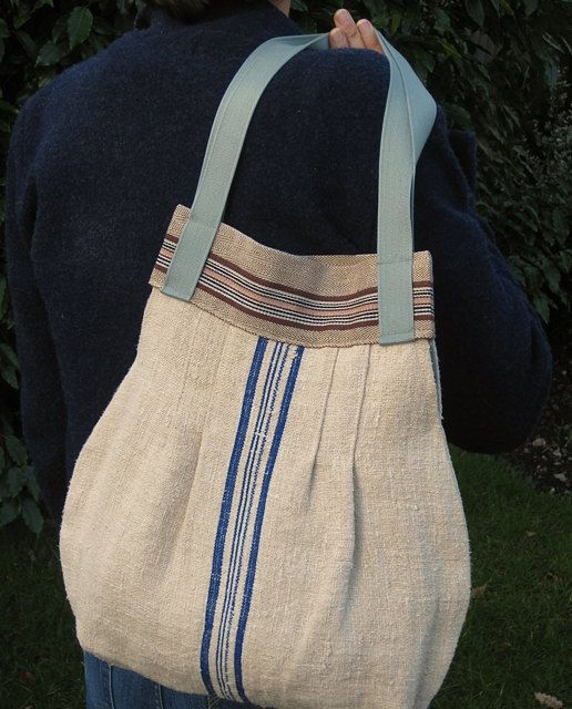 Grain sack Bag Purse Blue Stripe , Liberty Print Lining. Medium. Vintage Fabric.  Handmade With Passion. on Etsy, $185.00