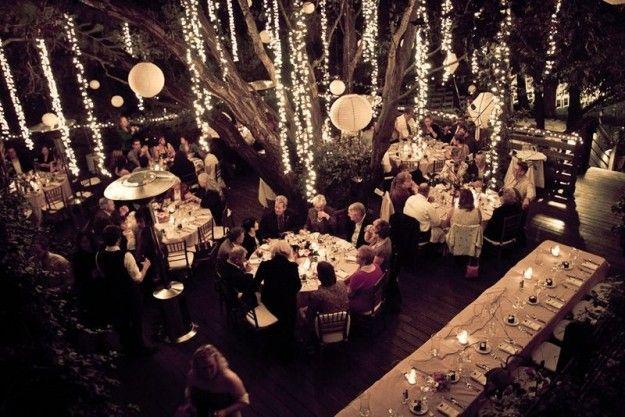 Luminarie pendenti per un matrimonio all'aperto - Idee moderne e originali per le nozze.