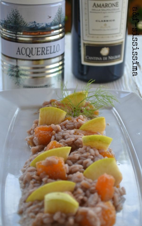risotto all'Amarone con zucca e mela