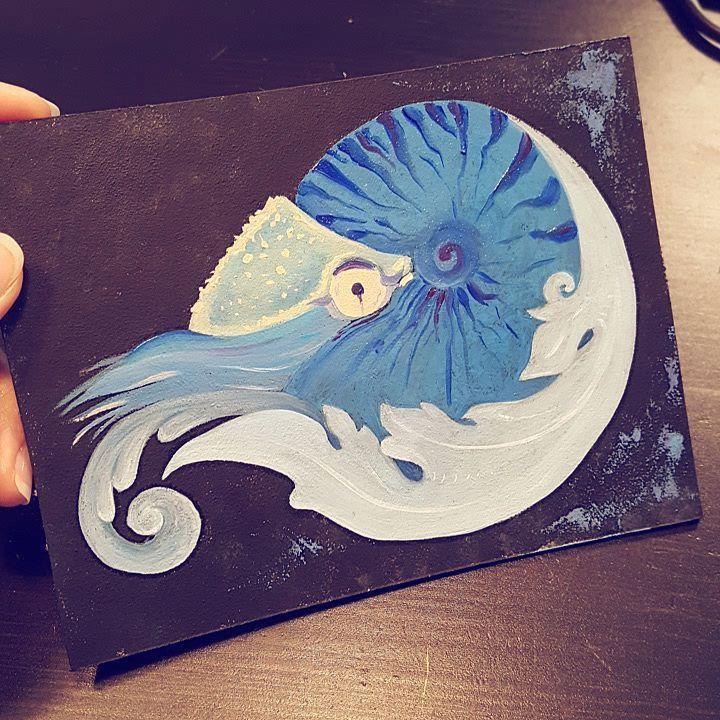 212 отметок «Нравится», 6 комментариев — Borchsh Ann (@litanut_art) в Instagram: «Мой наутилус, вот такой!  #арт #art #painting #oilpainting #sea #love #nautical #blue #art🎨…»