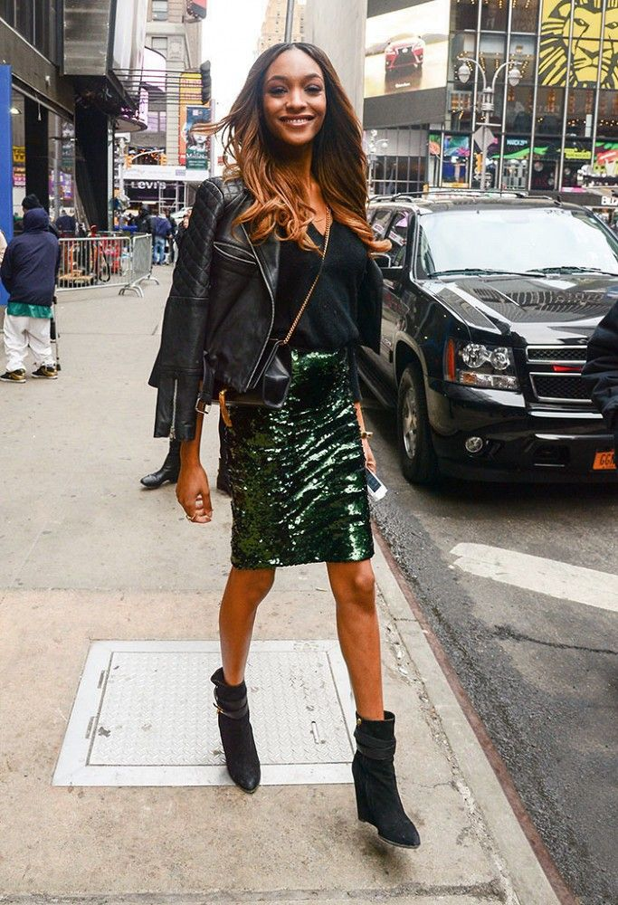 Jourdan Dunn in a black leather jacket and sequin skirt