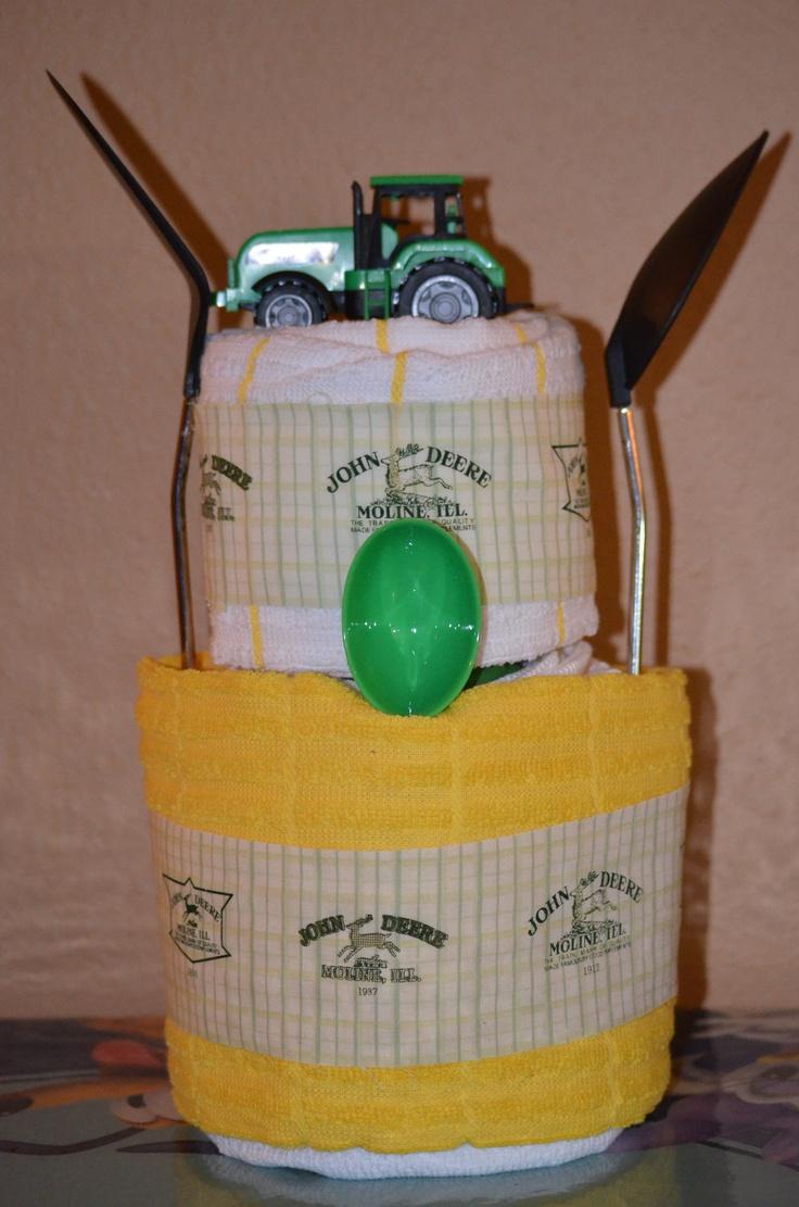 John deere kitchen decor - John Deere Kitchen Towel Cake