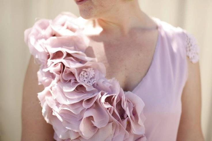 Sweet Pink SILK Ruffles dress. Dusty pink silk dress. Blush Avant Garde dress. Silk petal sculpture. $193.00, via Etsy.