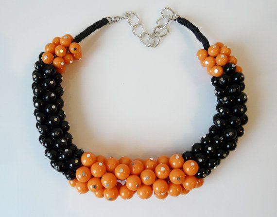 Light beaded necklace  orange and black beads by EmilyArtHandmade