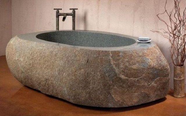 Искусственный камень в интерьере ванной: фото