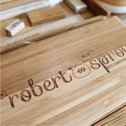 Eco friendly bamboo stationery pencil box www.robertsprout.co.za