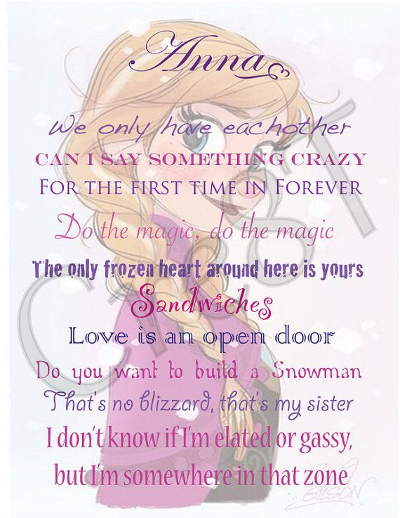 "Disney FROZEN/Anna Movie Quote Print by Cre8T on Etsy, $3.00 Hey guys! Check out my Etsy Store, ""Cre8T"", for more Prints & Photography. -Tia"