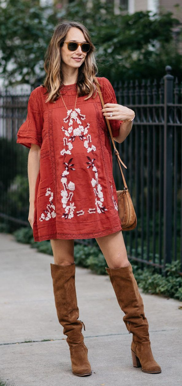 #fall #outfits women's red and white floral crew-neck short-sleeved mini dress and knee high boots outfit