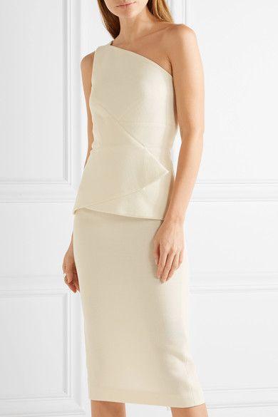 Cream wool-crepe Zip fastening through back 100% wool; lining: 93% silk, 7% elastane Dry clean Made in the UK
