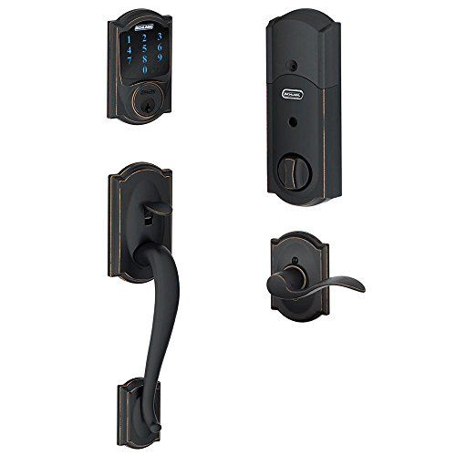 Schlage Connect Camelot Touchscreen Deadbolt with Built-In Alarm and Handleset Grip with Accent Lever, Aged Bronze, FE469NX ACC 716 CAM LH Schlage Lock Company http://smile.amazon.com/dp/B00D1M5YTG/ref=cm_sw_r_pi_dp_44-cxb1XNM4MG
