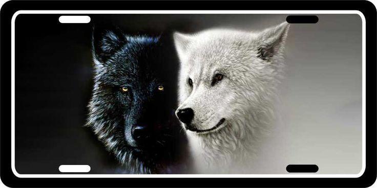 Black N White Wolf Mates License Plates