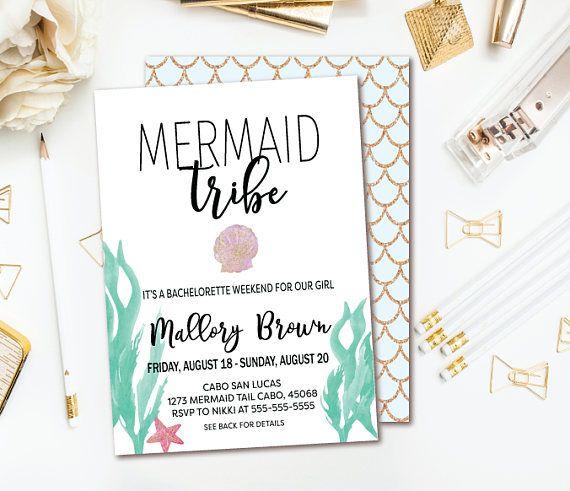 Mermaid Bachelorette Invitation - Beach Bachelorette Party - Mermaid Tribe Invitation - Printable Invites