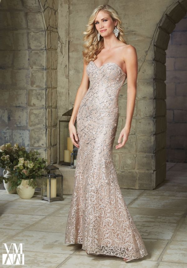 Evening Gowns 71244 Beaded Appliques on Metallic Lace