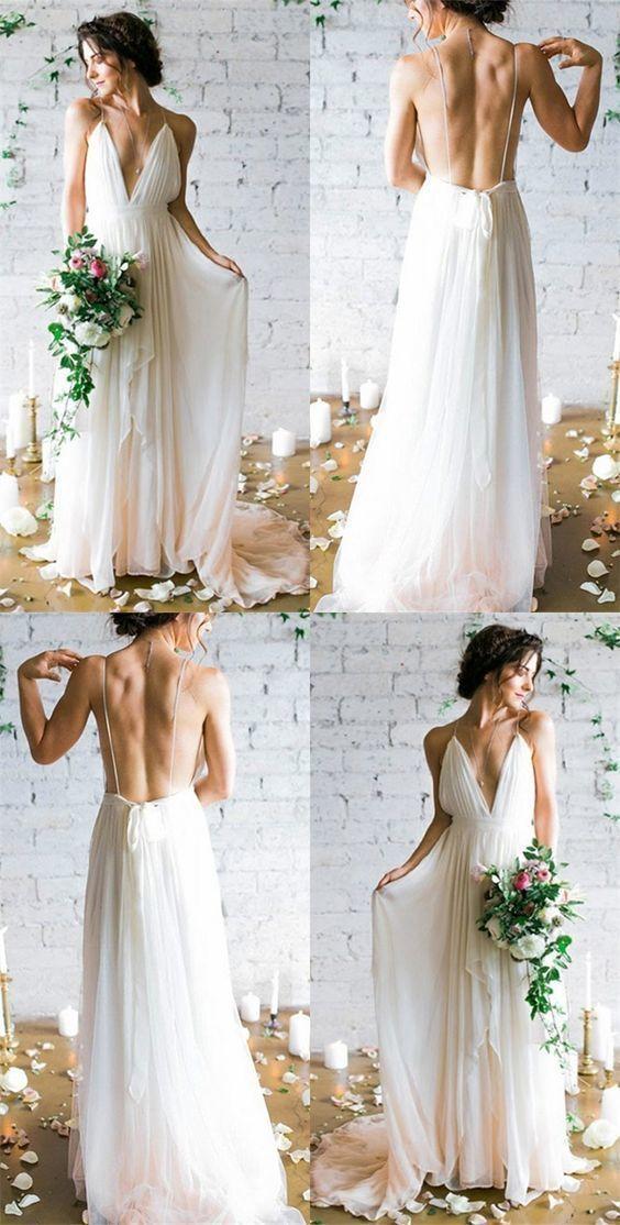 Robe de mariée dos nu blanche avec une ligne de bretelles spaghetti, robe de ma…