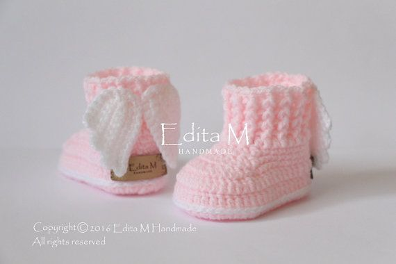 Crochet baby booties angel wings baby shoes with wings baby