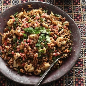 Freekeh is high in protein and fiber. This might be another grain worth checking out. This is something that could be cooked for dinner and then packed for lunch. Here's an idea of how to prepare...-Shauna  freekeh w cauliflower, pomegranate & mint
