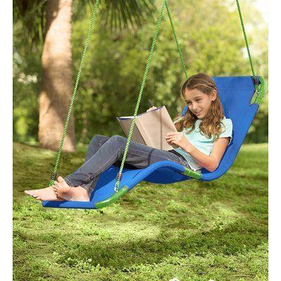Hearthsong Olefin Hanging Chaise Lounger Girls Backyard