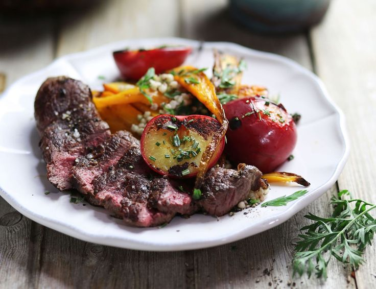 Venison Minute Steaks with Griddled Plums Recipe | Abel
