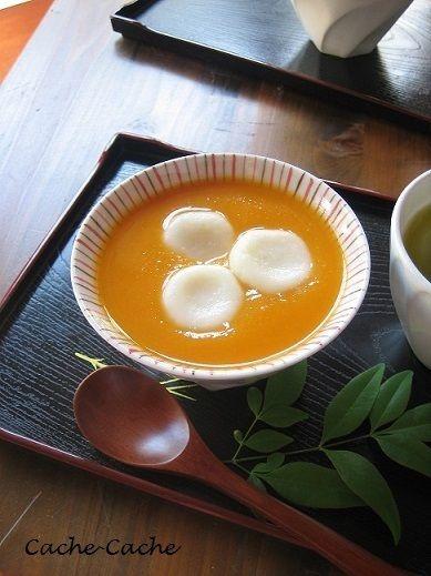 豆腐白玉入り♪ バターナッツかぼちゃのおしるこ