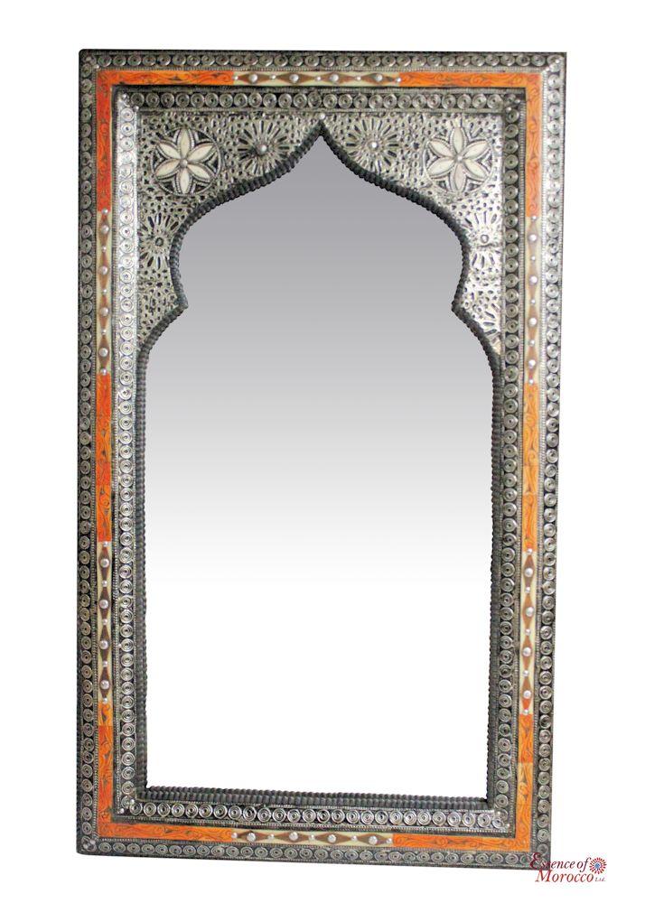 Moroccan Mirror ARABESQUE Silver Maillechort Hand Engraved  XL 100cm x 70cm. (E)