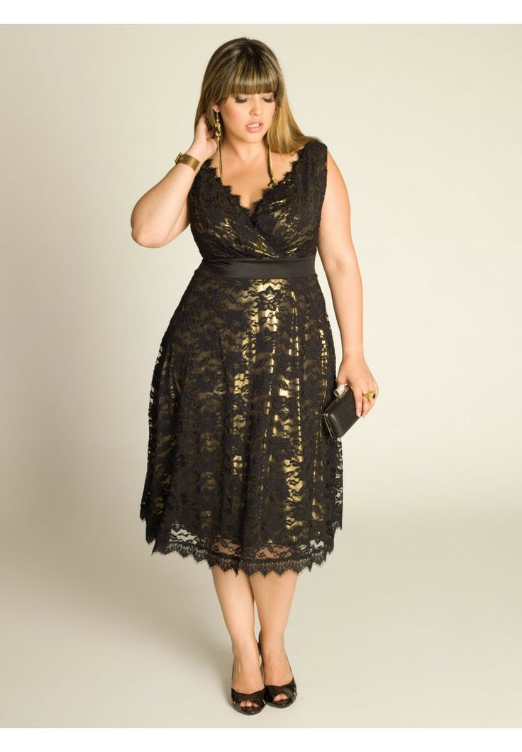 Plus Size Leigh Lace Dress In Gold Plus Size Cocktail