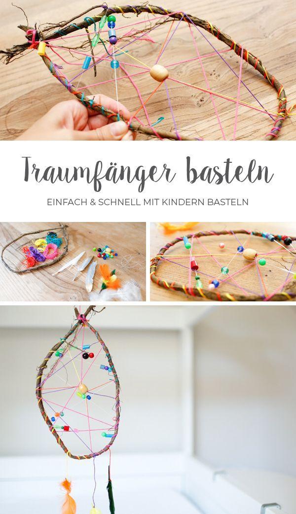 Traumfänger mit Kindern sehr schnell und einfach basteln. Schritt für Schritt …   – Deutschsprachige Bloggerinnen – das Gruppenboard – #basteln #B…