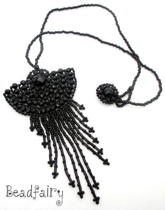 Ebony Necklace by BeadfairyStore on Etsy