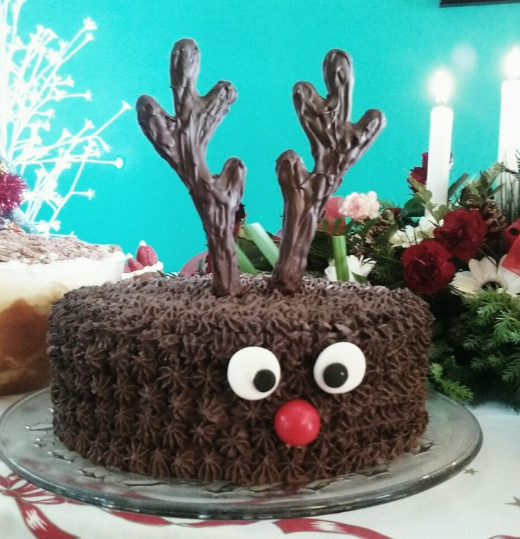 #Reindeer cake with buttercream icing and chocolate #antlers.