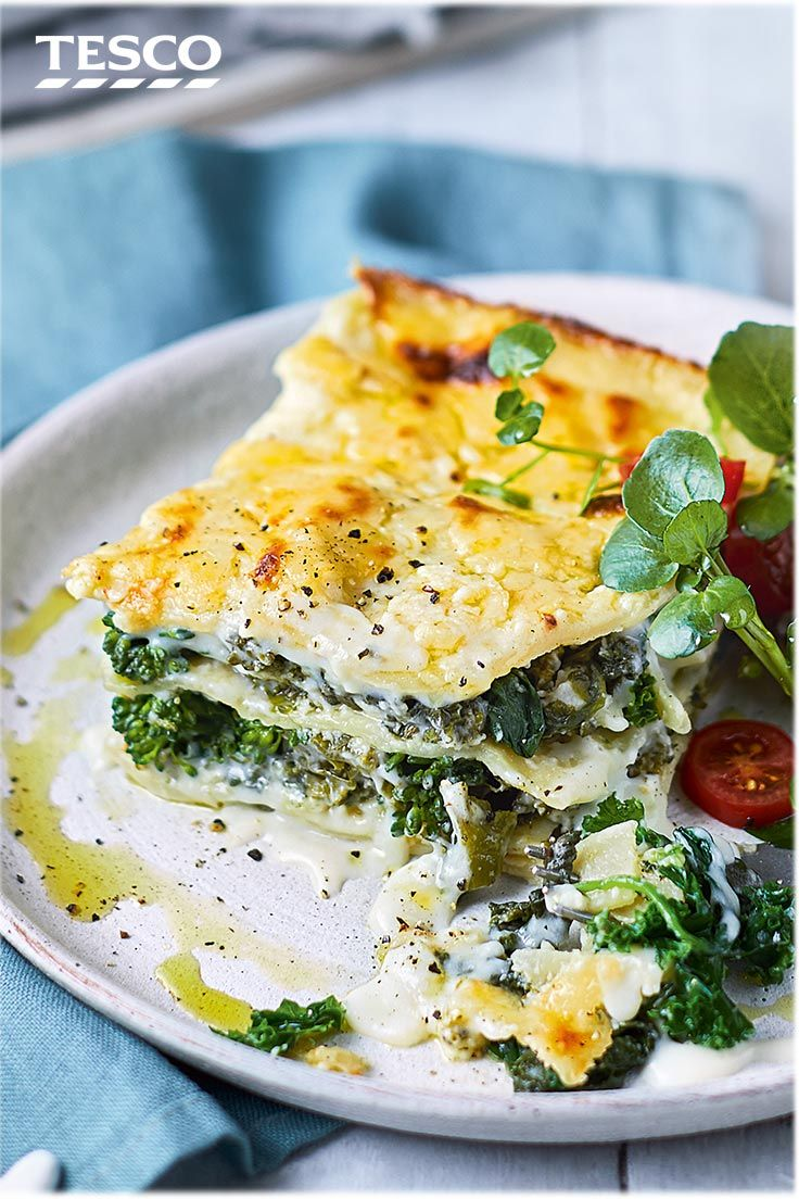 Make and freeze this rich vegetable lasagne recipe and you'll have a delicious vegetarian meal ready for an easy supper or impromptu Christmas entertaining. This recipe has a hearty green filling of broccoli, kale and spinach and rich cheese sauce. | Tesco