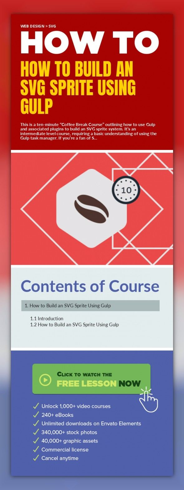 """How to Build an SVG Sprite Using Gulp Web Design, SVG Web Design, SVG  This is a ten-minute """"Coffee Break Course"""" outlining how to use Gulp and associated plugins to build an SVG sprite system. It's an intermediate level course, requiring a basic understanding of using the Gulp task manager.  If you're a fan of SVG and icons, this will be the perfect break to learn how to create an SVG spr..."""
