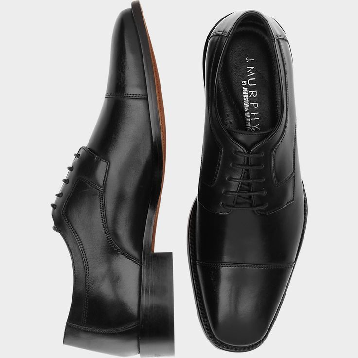 J. Murphy by Johnston & Murphy Novick Black Cap Toe Lace Up Shoes - Dress Shoes | Men's Wearhouse