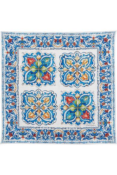 Multicolored silk-twill 100% silk Dry clean Designer color: Maiolica Made in Italy