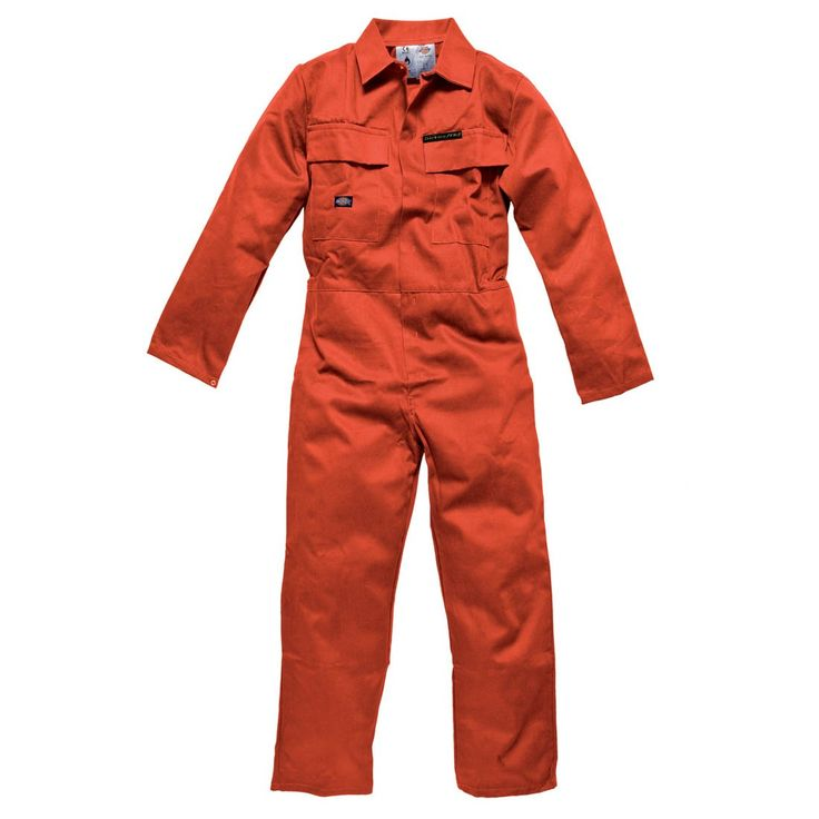 Dickies Flame Retardant Orange Stud Front Proban Workwear Overalls
