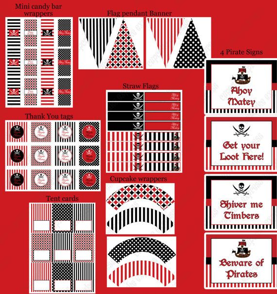 DIY  Deluxe PIRATE Birthday Party  PRINTABLE by CupcakeExpress, $35.00