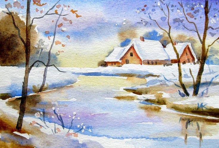 Christmas Card Painting - Winter Christmas Landscape by Meltem Kilic