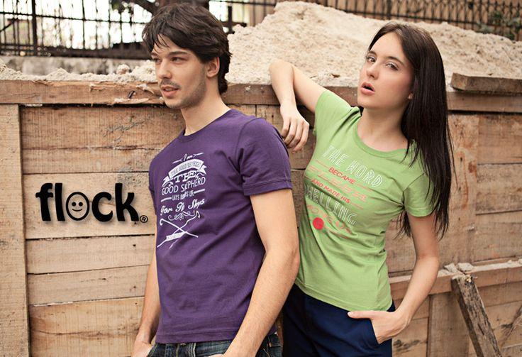 Flock merupakan clothing line yang memiliki koleksi t-shirt berkualitas dengan desain keren. Koleksi Flock T-Shirt kali ini memiliki desain permainan tipografi yang berisi pesan rohani sebagai inspirasi hidup. Dikemas dengan warna-warna cerah, Flock memberikan energi yang positif bagi lingkuran sekitar pemakainya.