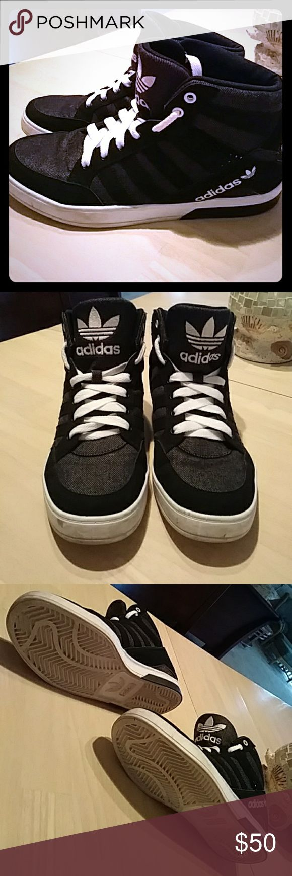 Adidas high top sneakers BLACK, WHITE, CHARCOAL GREY Fairly new. Used to dance in at least 10 times mainly on stage and in a dance studio. Adidas Shoes Athletic Shoes