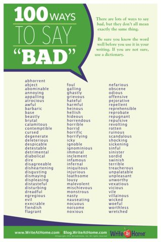 """100 Ways to Say """"Bad"""" Poster – WriteAtHome Posters"""
