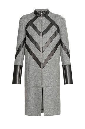 Пальто из шерсти с кожаной отделкой IRFE