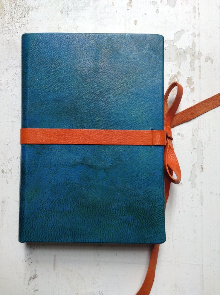 Small bookbinding, blue and orange leather